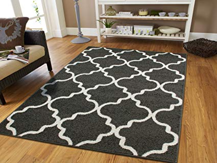 Amazon.com: Large 8x11 Morrocan Trellis Area Rug Gray Contemporary