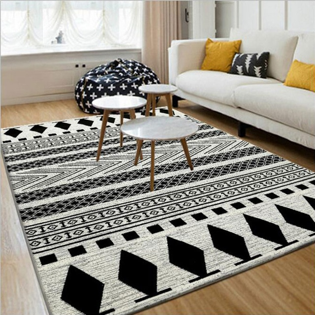 Black White 130X190cm European Modern Carpet And Floor Rugs And