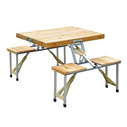 Amazon.com : Outsunny 4 Person Wooden Portable Folding Picnic Table