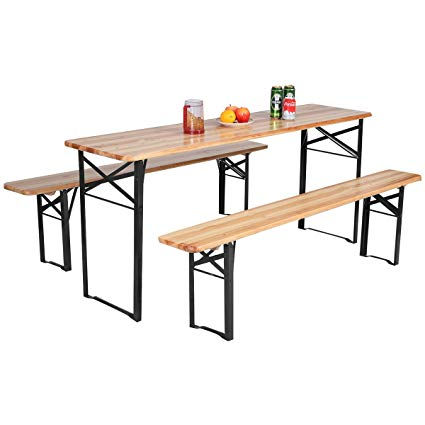 Amazon.com: Giantex 3-Piece Portable Folding Picnic Beer Table with