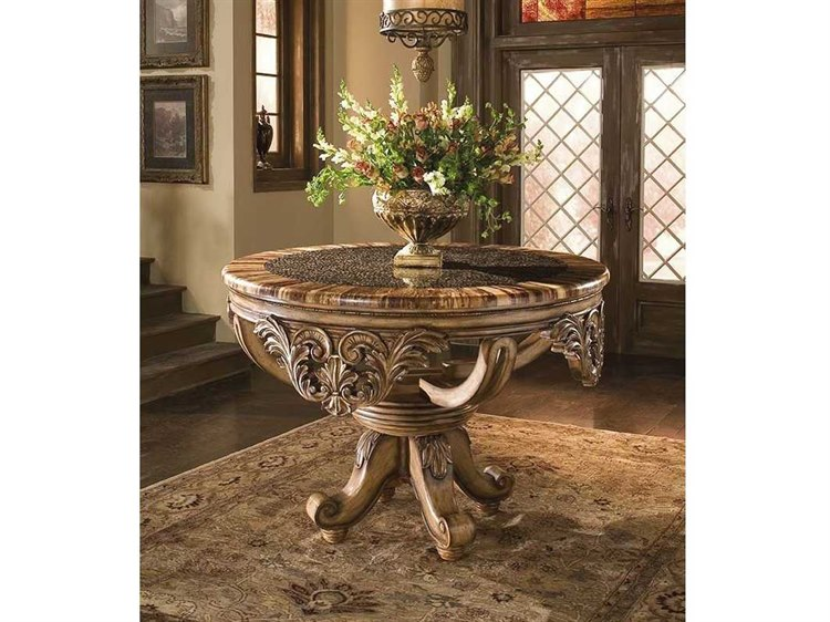 Benetti's Italia Dynasty 56'' x 56'' Foyer Table with Bamboo Ring