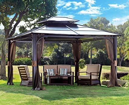 Amazon.com : sunjoy 10 x 12 Chatham Steel Hardtop Gazebo : Garden