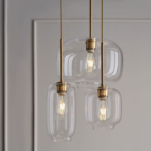 Sculptural Glass Pebble 3-Light Chandelier - Mixed (Clear) | west elm