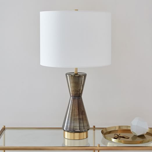 Metalized Glass Table Lamp + USB - Large (Gray) | west elm