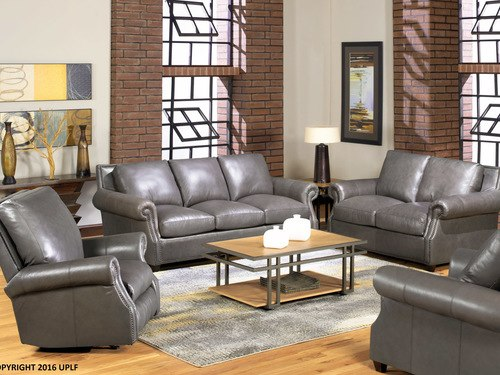 8655 Gray Leather Sofa- Additional 10% off Utah-made leather