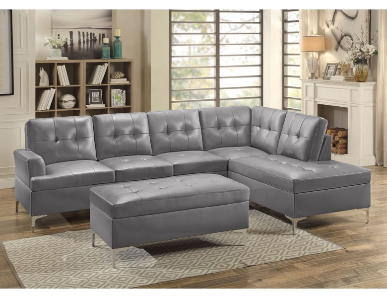 Degah Grey Leather Sectional Sofa