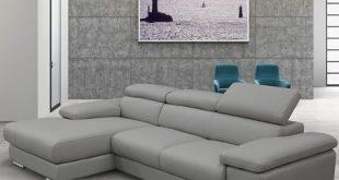 Nicoletti Lipari Grey Leather Sofa Chaise, Left-facing | Costco UK