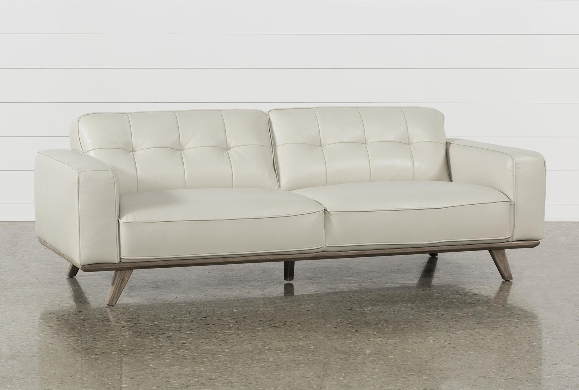 Caressa Leather Dove Grey Sofa | Living Spaces