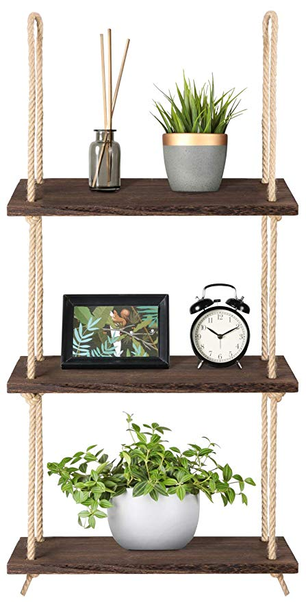 Amazon.com: Mkono Wood Hanging Shelf Wall Swing Storage Shelves Jute