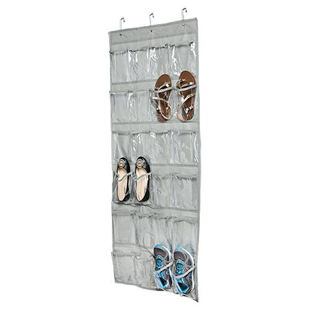 24-Pocket Over-The-Door Hanging Shoe Organizer, Grey