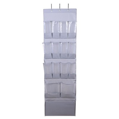 15-Pocket Over-the-Door Hanging Shoe Organizer Gray - Room