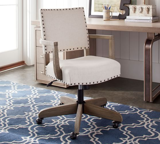 Manchester Upholstered Swivel Desk Chair | Pottery Barn