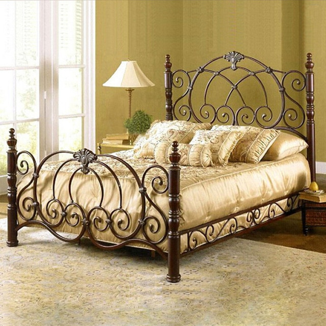 European medieval vintage wrought iron beds double bedroom upscale