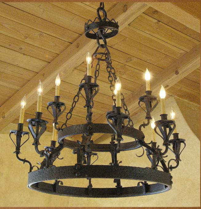 C-01 Santa Barbara Spanish Style Wrought Iron Chandelier