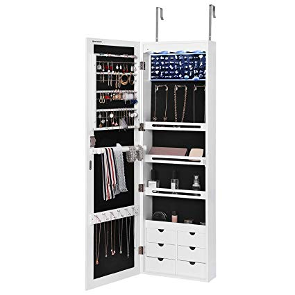 Amazon.com: SONGMICS LED Jewelry Cabinet Armoire with 6 Drawers