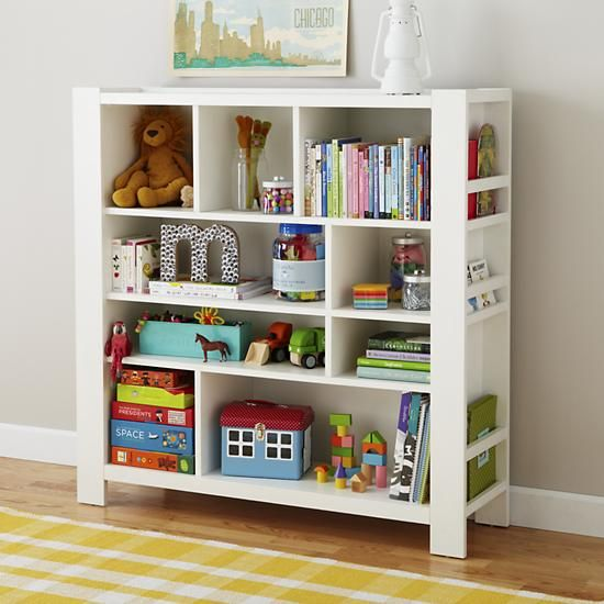 Kids' Bookcase: Kids White Compartment Cubby Bookcase in Bookcases