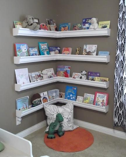 Rain Gutter Bookshelves | Children's Bookshelves | Playroom, Room, Home
