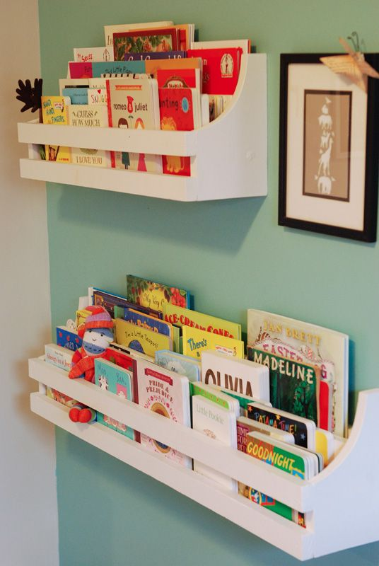 Rory's bookshelves. Inspired by Pottery Barn Kids. Made for less