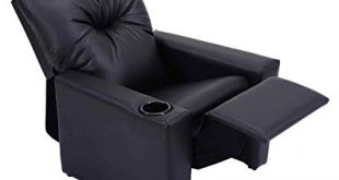 Amazon.com: Kids Recliner with Cup Holder Black Leather Sofa Chair