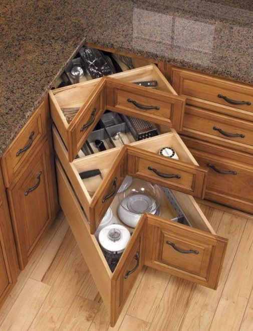 How to DIY Corner Kitchen Drawers | Ideas for the House | Pinterest