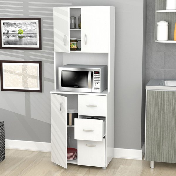 Shop Inval America Larcinia White Laminate/Wood Kitchen Storage