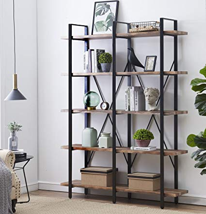 Amazon.com: O&K Furniture Double Wide 5-Tier Open Bookcases