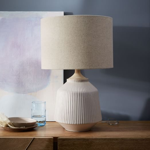 Roar + Rabbit™ Ripple Ceramic Table Lamp - Large (White) | west elm