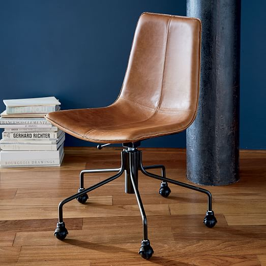 Slope Leather Swivel Office Chair