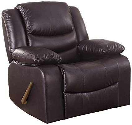 Amazon.com: Bonded Leather Rocker Recliner Living Room Chair (Brown