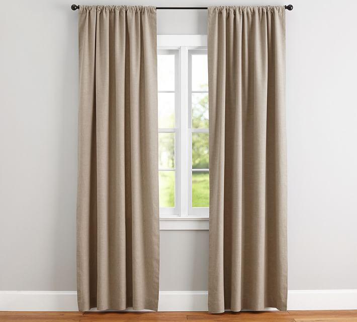 Emery Linen Pole-Pocket Curtain - Walnut | Pottery Barn