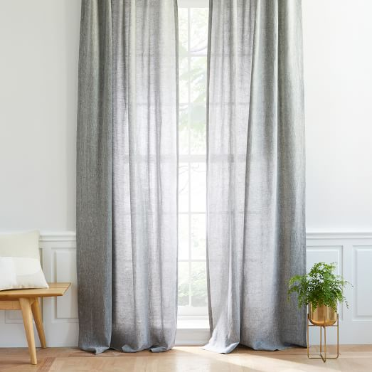 Semi-Sheer Belgian Flax Linen Melange Curtain - Slate | west elm