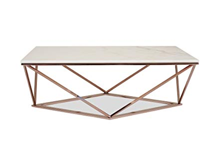 Amazon.com: Edloe Finch Modern Marble Coffee Table - Rose Gold