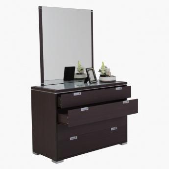 Burband Dresser with Mirror | Black/Oak | MDF