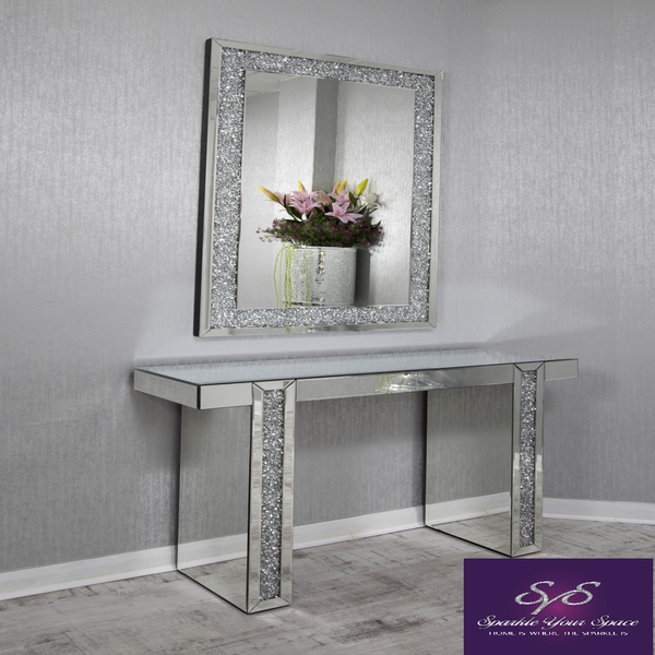 Mirrored Console Table with Diamond Crush Detail Legs. u2013 Sparkle
