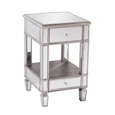 Aiden Lane Warakin Mirrored Side Table Brushed Matte Silver With