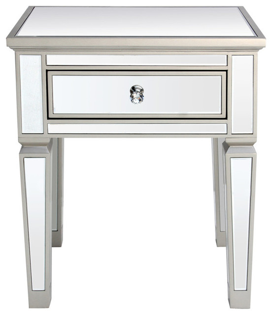 Louis 1-Drawer Mirrored Side Table - Transitional - Nightstands And
