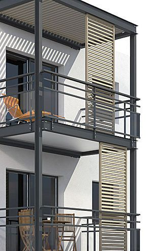 modern balcony design with sliding shades | Architecture and Design
