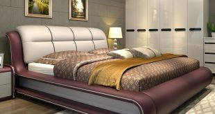 Modern bedroom furniture bed with genuine leather M01-in Beds from