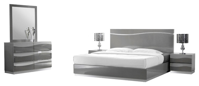 Leon Gray Modern 5-Piece Bedroom Set - Contemporary - Bedroom