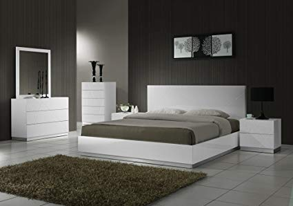Amazon.com: J&M Furniture Naples Modern White Lacquered Bedroom set
