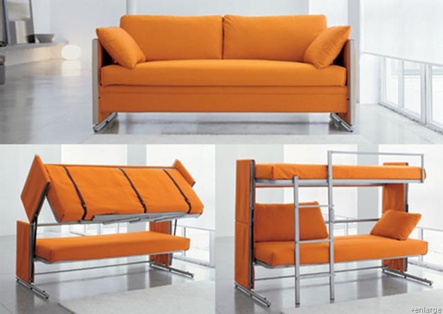 Sofas: Stunning Orange Modern Bunk Sectional Minimalist Sofa Bed