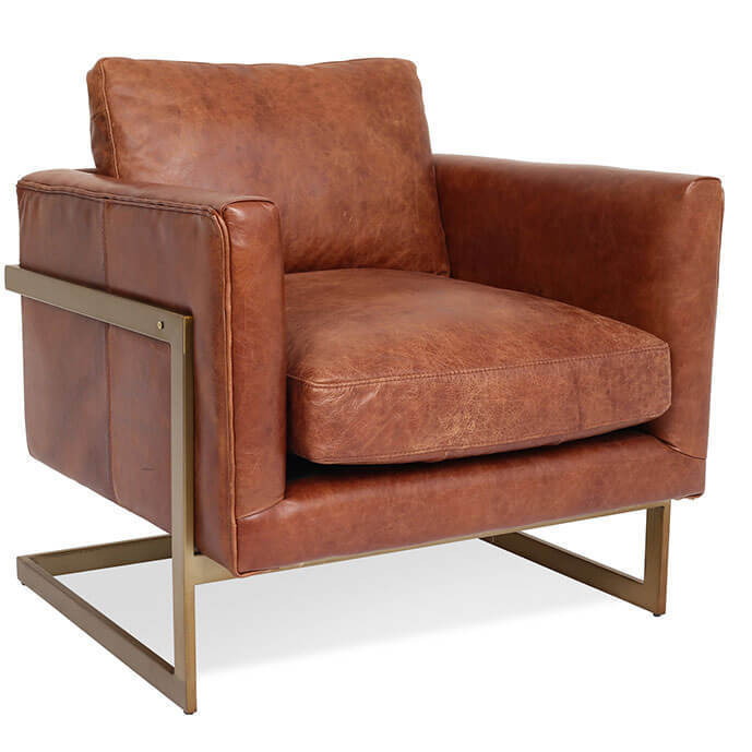 London Modern Cognac Leather Club Chair | Zin Home