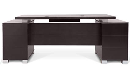 Amazon.com: Ford Executive Modern Desk with Filing Cabinets - Dark
