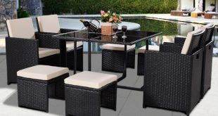 Giantex 9 PCS Black Patio Garden Rattan Wicker Sofa Set Modern