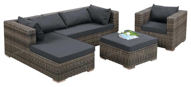 Modern Design Outdoor Wicker Patio Rattan Sofa Set-in Garden Sofas