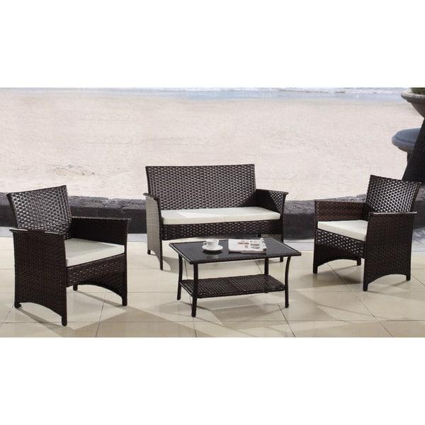Shop Modern Outdoor Garden Patio 4-piece Wicker Sofa Furniture Set