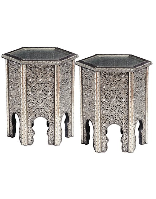Silver metal hand carved side tables (pair) - Out of Africa Art Shop