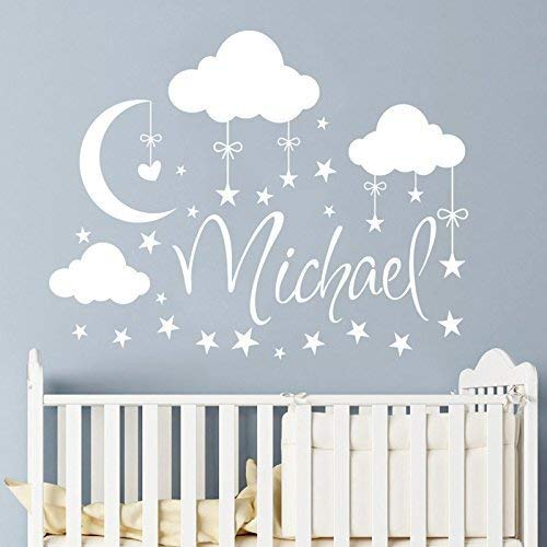 Amazon.com: Name Wall Decal Boy Clouds Nursery Decals Moon Decal