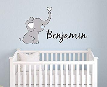 Amazon.com: Boys Nursery Elephant Custom Personalized Name Wall