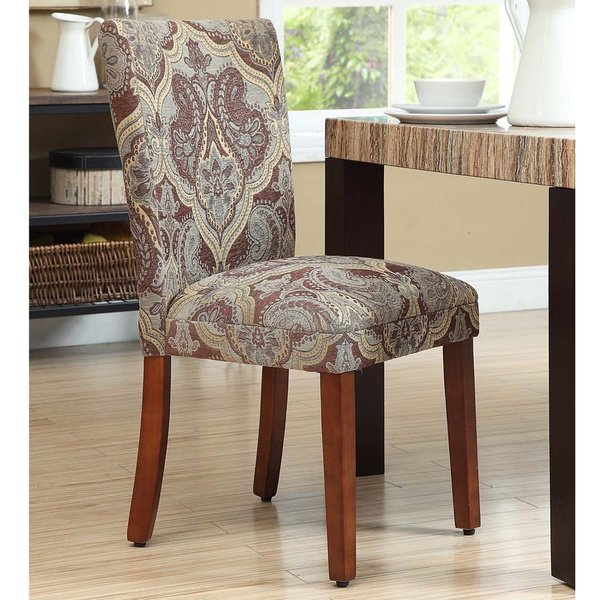 Shop HomePop Blue and Brown Paisley Parson Chairs (Set of 2) - On